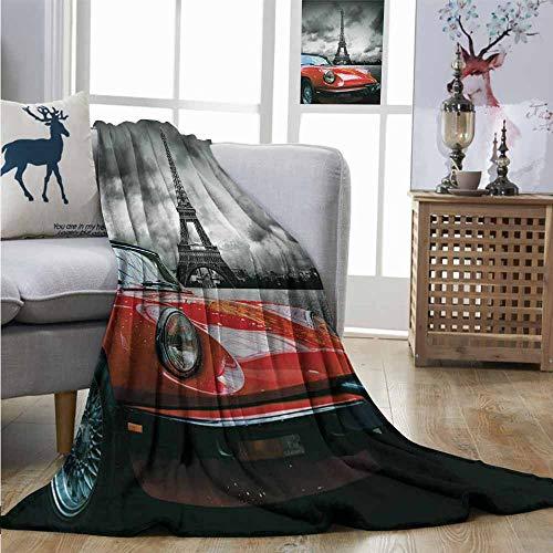 (Throw Blanket Red and Black European Honeymoon Romantic City Paris Eiffel Tower Italian Car for Summer W40 xL60 Charcoal Grey and White)