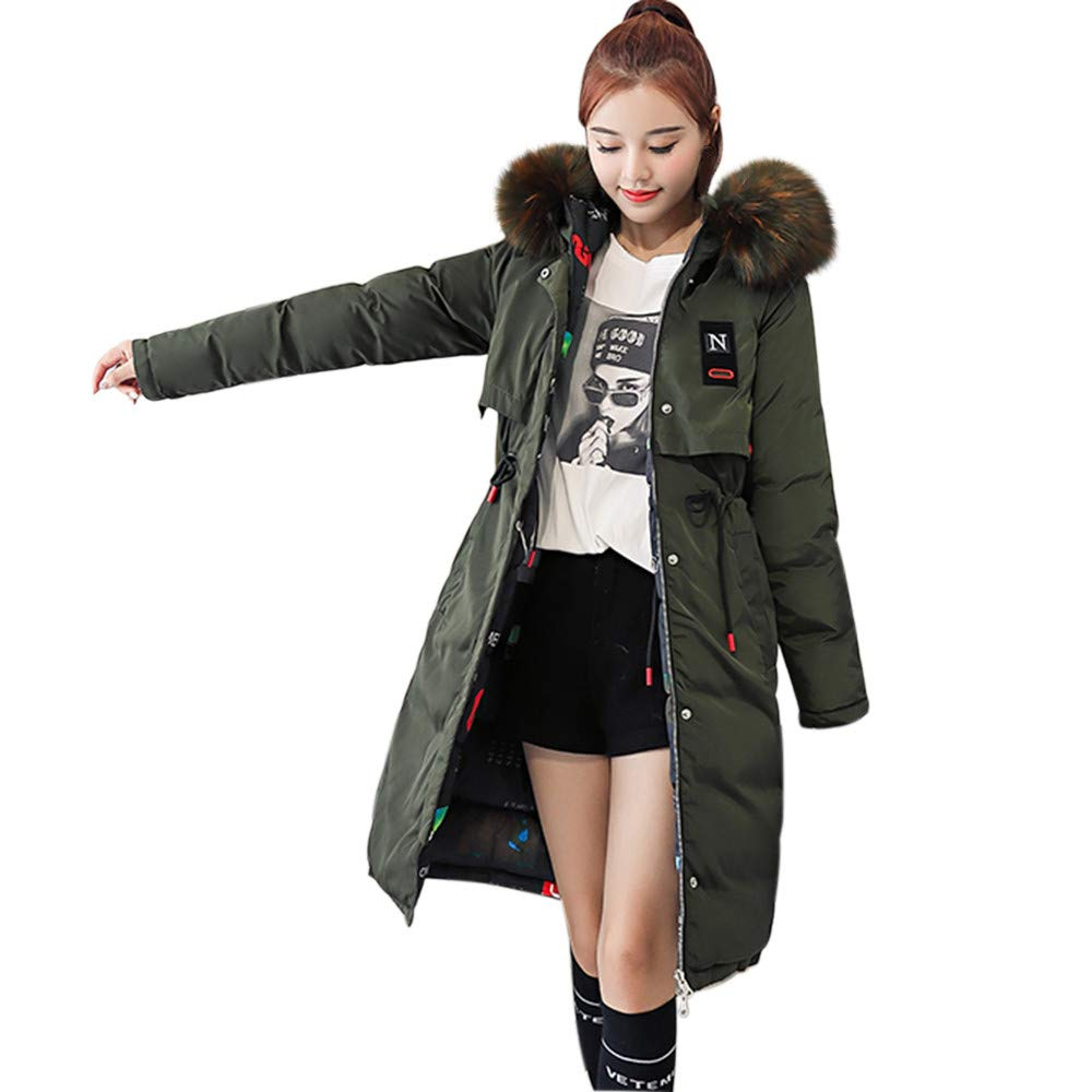NUWFOR Overcoat Womens Parka Jacket Hooded Winter Coats Faux Fur Outdoor Coat for Winter/Autumn(Army Green,XL)