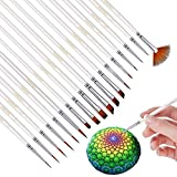 Miniature Paint Brushes Detail Set -18pc Miniature Brushes for Fine Detailing & Rock Painting. Acrylic Watercolor Oil - Art, Perfect for Scale Models, Figurines, Nail, Face, Airplane Kits