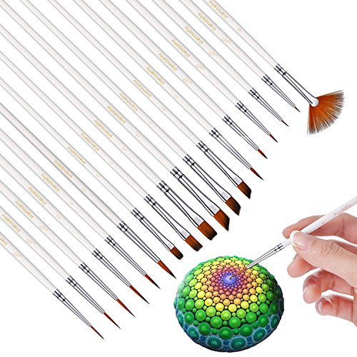 Fine Detail Paint Brush Set - Pandafly 18 Pcs Miniature Acrylic Brushes for Detailing & Art Painting, Rock Painting | Media: Watercolor, Oil | Perfect for Miniatures, Models, Figurines, Nail, (Concentrate Nail)