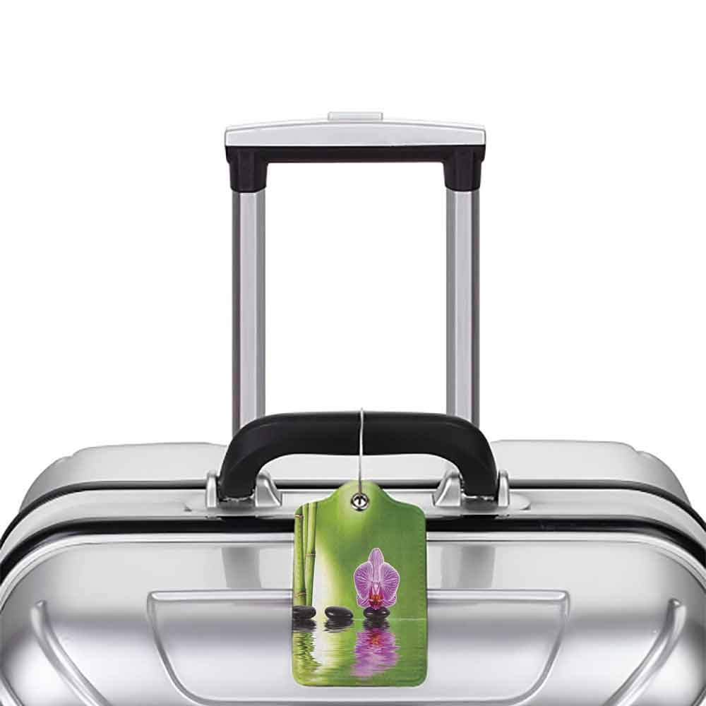 Waterproof luggage tag Spa Decor Collection Spa Floral Decorating Summertime Holidays Exotic Positiveness Bouquet Picture Pattern Soft to the touch Green Black Lilac W2.7 x L4.6