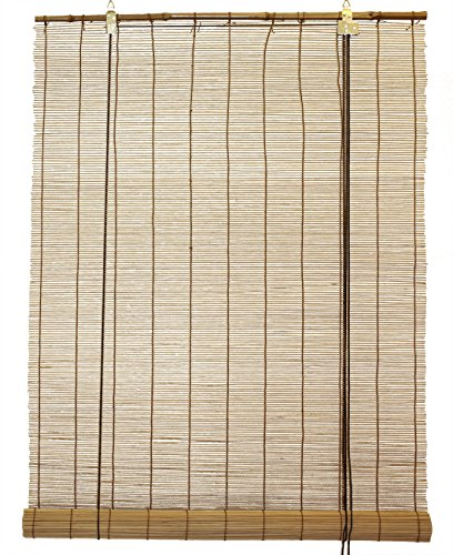 Seta Direct, Natural Bamboo Matchstick Roll Up Window Blind 48-Inch Wide by 96-Inch Length (Light Brown) ()