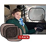 Baby Car Side Window Sun Shade by Kassa (Black - 3 Pack) - UPF 30 Protection for Children - No Suction Cup- Sunshade Blocks UV Rays - Screen Shield For Toddler Seat
