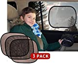Premium Large Car Window Sun Shade by Kassa (3 Pack) - UPF 30+ Sun Protection, Sunshade Blocks 97% of UV Rays - Easy Installation, No Suction Cups Required