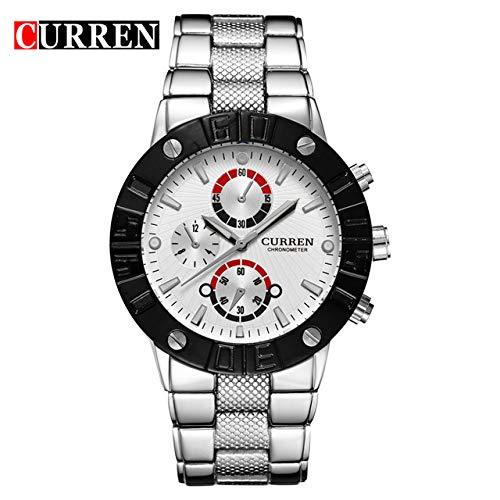 MOZISEN Relojes de Vestir CURREN8006 Reloj para Hombre Reloj de Cuarzo con Correa de Acero (