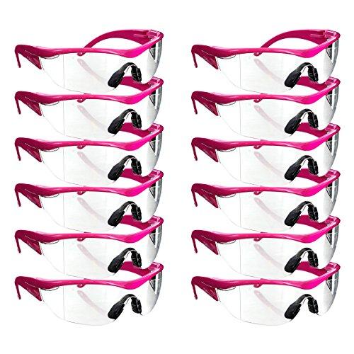Safety Girl Navigator Safety Glasses Pink Frame - 12 Pack (Clear) ()