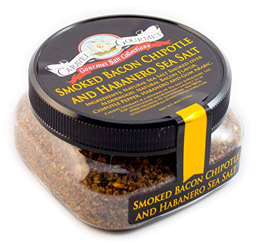 (Smoked Bacon Chipotle & Habanero - Spicy Hot Sea Salt - Fine Grain - 4 Oz Stackable Jar)