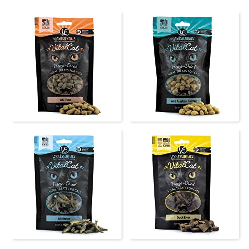 Vital Essentials Ultimate Freeze Dried Raw Cat Treats Ultimate Bundle with (Ahi Tuna, Minnows, Alaskan Salmon & Duck Liver) 4 Bags Total. Fast Delivery!!!