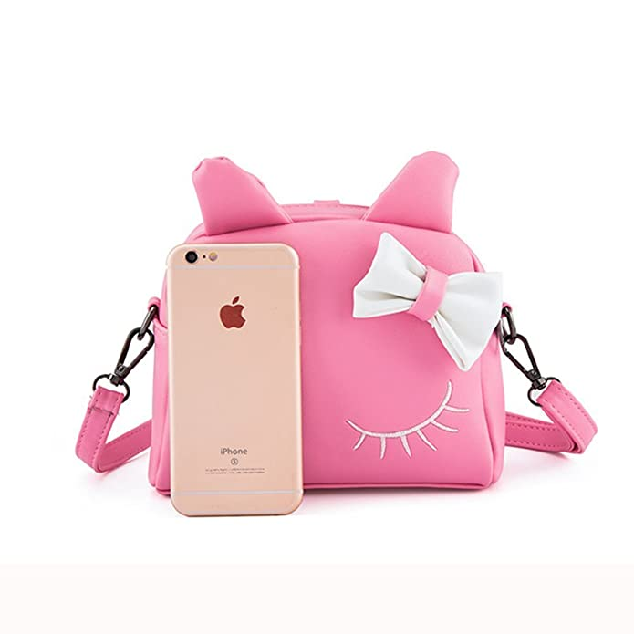 fc5d4f68fd1a Pinky Family Cute Cat Ear Kids Handbags Candy Color Crossbody Bags PU Leather  Shoulder Bags (pink)  Amazon.in  Shoes   Handbags
