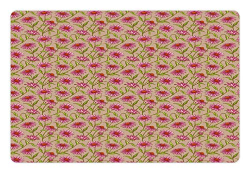 Cocoa Cone - Lunarable Echinacea Pet Mat for Food and Water, Floral Pattern of Cone Flowers Leaves and Petals, Rectangle Non-Slip Rubber Mat for Dogs and Cats, Cocoa Pink Burnt Orange Apple Green
