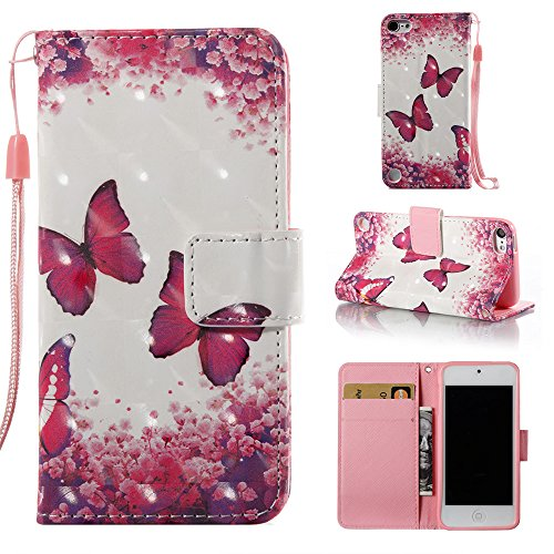 Voanice iPod Touch 6 Case,iPod Touch 5 Case,Premium PU Leather iPod 6 Wallet Case with Kickstand Card Holders Flip Cover Magnetic Hand Strap for iPod Touch 5th/6th Generation&Stylus-Hot Pink Butterfly (Apple Ipod 30 Gb 6th Generation)