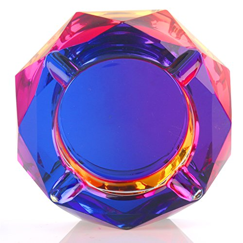 Kufox Crystal Outdoors Indoors Cigarette Ashtray Ash Holder Case, Colorful Pattern Home Office Tabletop Beautiful Decoration Craft (Bling Bling 01) (Art Cigar Ashtray Glass)