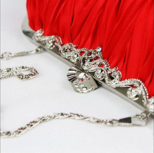 Desuper Vintage Chain Bag Party Shoulder Wedding Red Satin Handbag Womens Cocktail P4PxnwCZq