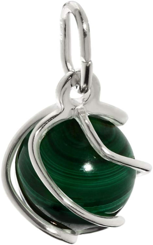 Colgante de bola NKlaus Esfera de plata esterlina 925 verde malaquita real 7mm damas 7867