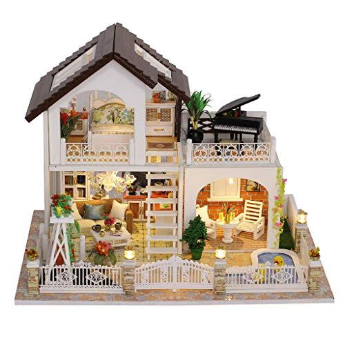 NATFUR DIY Dolls House Kit Miniature Furniture +LED +Cover Holiday Villa from NATFUR