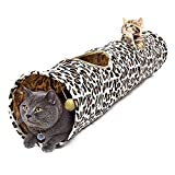 PAWZ Road Leopard Print Cat Tunnel Crinkly Sounds Portable 2 Holes With Ball Long Tunnel Kitten Toy