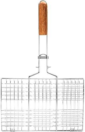 TOPINCN Grille Filet Barbecue Pince Barbecue en Acier Barbecue Dossiers de Treillis M/étallique Pince Poisson Grill/é Outil de Camping Ext/érieur