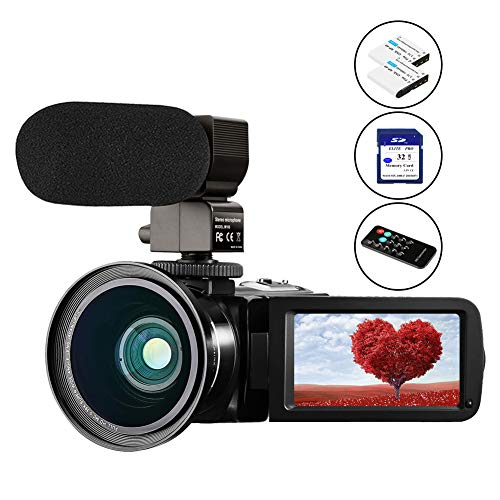 Video Camera for YouTube,Aasonida Camcorder Vlogging Camera 24MP FHD 1080P 30FPS 270° Touch Screen Digital Camera with Infrared Night Vision Rechargeable Microphone 32GB SD Card Remote Control