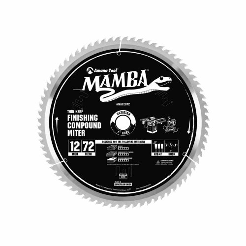 Amana Tool Mamba Series MA12072 Finishing Compound Miter 12-Inch x 72 Tooth x ATB+F Grind 1-Inch Bore Saw Blade ()