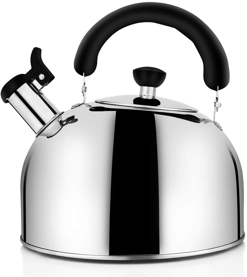 Tea Kettle for Stovetop Whistling Tea Pot, Stainless Steel Tea Kettles Tea Pots for Stove Top, 3.2QT 3-Liter Large Capacity with Capsule Base by ECPURCHASE