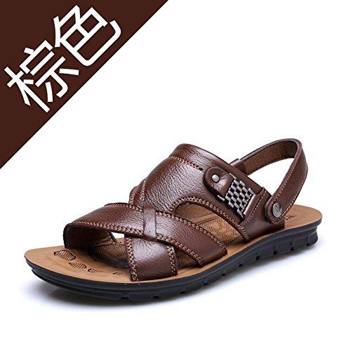 Xing Lin Sandalias De Verano Zapatillas De Cuero _ Hombre De Primera Capa De Sandalias De Cuero Sandalias De Gran Tamaño Zapatillas 13082 brown