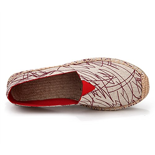fereshte Unisex Men's Women's Comfort Canvas Flax Elastic Lace Oxford Sole Flat Espadrilles For Valentine Branch Red xl7yBOrE
