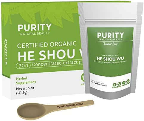 Certified Organic He Shou Wu - Large 5oz Bag of 30:1 Concentrated He Shou Wu Organic Extract Plus Free Bamboo Spoon