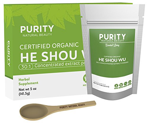 Shou Wu Wan - Certified Organic He Shou Wu - Large 5oz Bag of 30:1 Concentrated He Shou Wu Organic Extract Plus Free Bamboo Spoon
