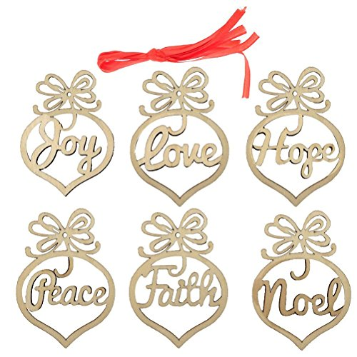 Faith Tag (FENICAL You Love Hope Peace Faith Noel Word Wood Tags Christmas Tree Ornament Party Decoration)
