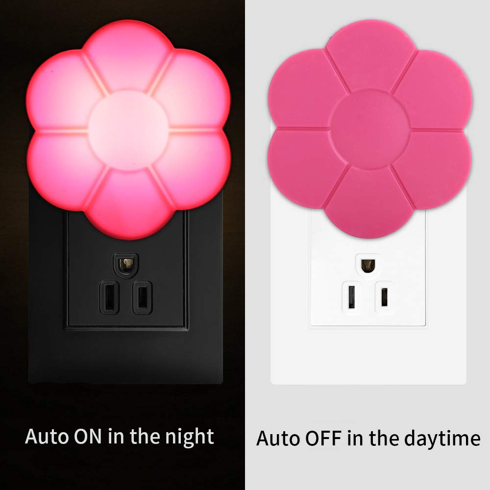 Gbell US Plug-in Auto Light Sensor LED Wall Night Light for Girls Kids Room,Kawaii Kids Aults Flower Light Control Nightlights Lamp for Bedrooms, Corridor,Bathroom,Nursery Bedroom, Dorm