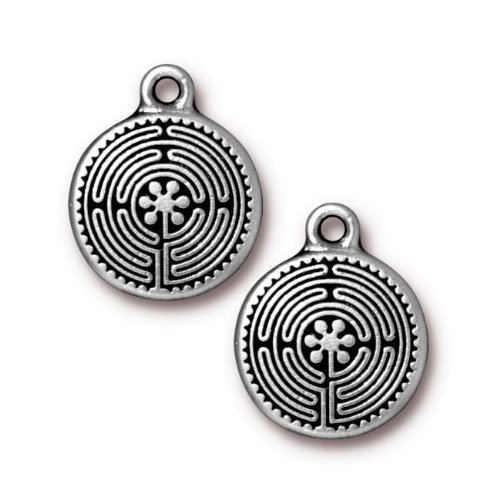 Tierracast Antiqued Silver Plated Labyrinth Pendant Charm...