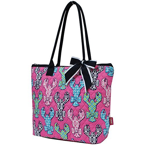 Tote Two Lined Fully Pocket (Ngil Quilted Cotton Owl Medium Tote Bag II (Lobster Navy Blue))