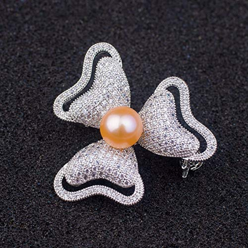 rt Orders Really Making Fashionable Women Girls s925 Silver Inlay Natural Pearl Brooch pin Corsage Necklace Pendant Chain Zircon Flower (Pink Pearl