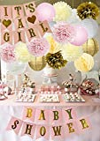 Arts & Crafts : Baby Shower Decorations BABY SHOWER & IT'S A GIRL Garland Bunting Banner Tissue Paper Flower Pom Poms Paper Lanterns Paper Honeycomb Balls Pink/White/Gold/Cream Party Decoration Nursery Room Decor