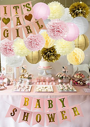 Baby Shower Decorations BABY SHOWER & IT'S A GIRL Garland Bunting Banner Tissue Paper Flower Pom Poms Paper Lanterns Paper Honeycomb Balls Pink/White/Gold/Cream Party Decoration Nursery Room (Baby Shower Decoration For Girls)