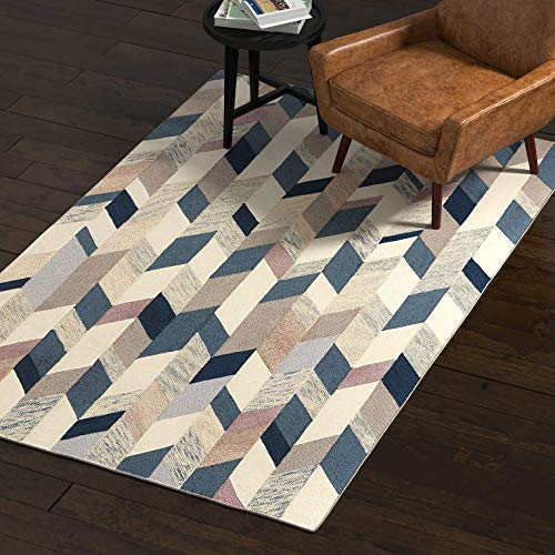 (Rivet Modern Geometric Wool Rug, 5' x 8', Blue, Grey, Brown)