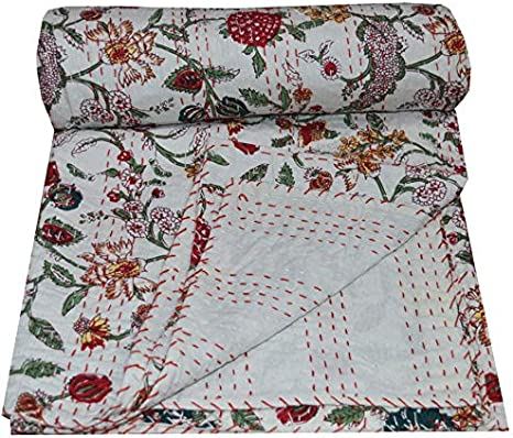 beautiful white floral kantha quilts,kantha throw,bedding bedcover balnket size queen
