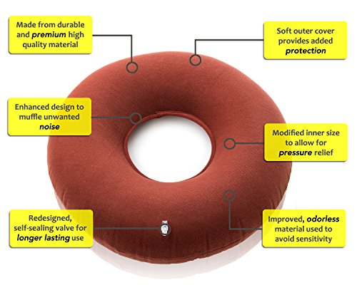 Premium Inflatable Donut cushion comfortable for Hemorrhoid ,Back and Tailbone Pain relief. Medical Donut Cushion ideal for Coccyx pain, Bedsores, Child Birth, and Pregnancy_Red by EMS Extend Medical Supply (Image #4)