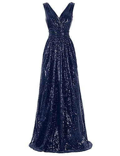 Kate Kasin Sexy Sequines Evening Dresses For Xmas Dinner Sleeveless Navy Blue USA6 KK199-7