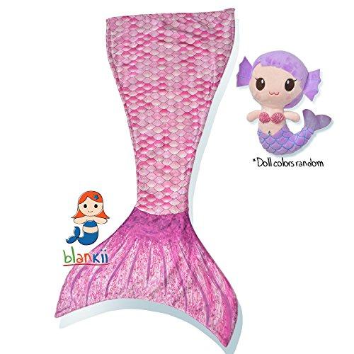 Blankii Kids Mermaid Tail Blanket with Mia Mermaid Doll, Pink