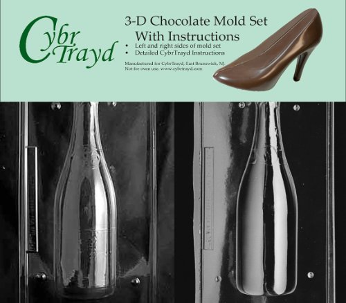 Cybrtrayd AO301AB Champagne Bottle Chocolate Candy Mold Kit with 2 Molds and 3D Chocolate Instructions