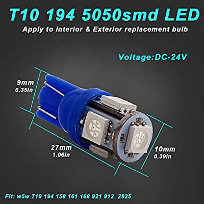 EverBright 20-Pack DC 24V Blue T10 194 168 2825 W5W 5050 5-SMD LED Bulb for Car Replacement Interior Lights Wedge Dome Trunk Dashboard Bulb License Plate Light Lamp: Automotive