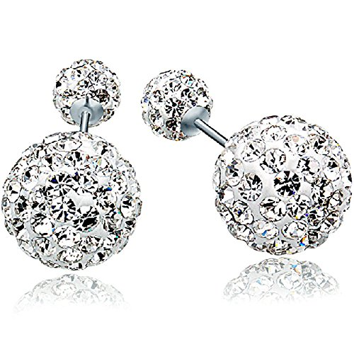 4e27245c2 KOREA-JIAEN Shambhala Earrings S925 Sterling Silver Plated Base Cubic  Zirconia Double Sided Fully-jewelled Earrings