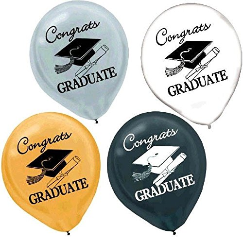 Graduation Balloons Silver Black White product image