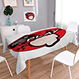 Angoueleven Gamer Patterned Tablecloth Gaming Illustration with Play Quote and Pointing Finger Abstract Squares Design Dust-proof Oblong Tablecloth Cream Black Red size:60''x104''