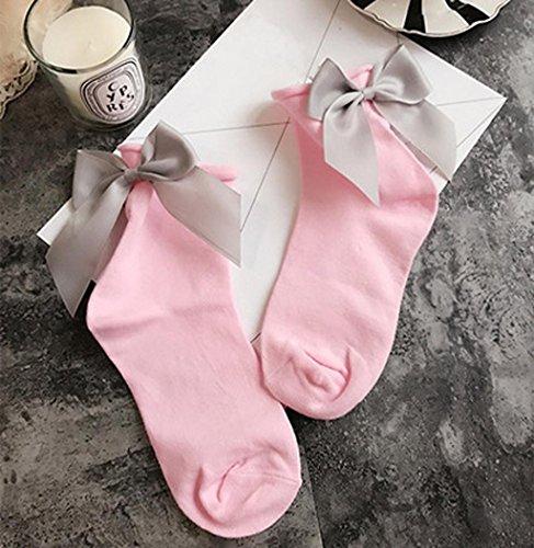 Sagton Kvinner Harajuku Street Style Sokker Bomull Ankel Lengde Sokker Mannskap Sokker Med Bowknot Rosa + Grå