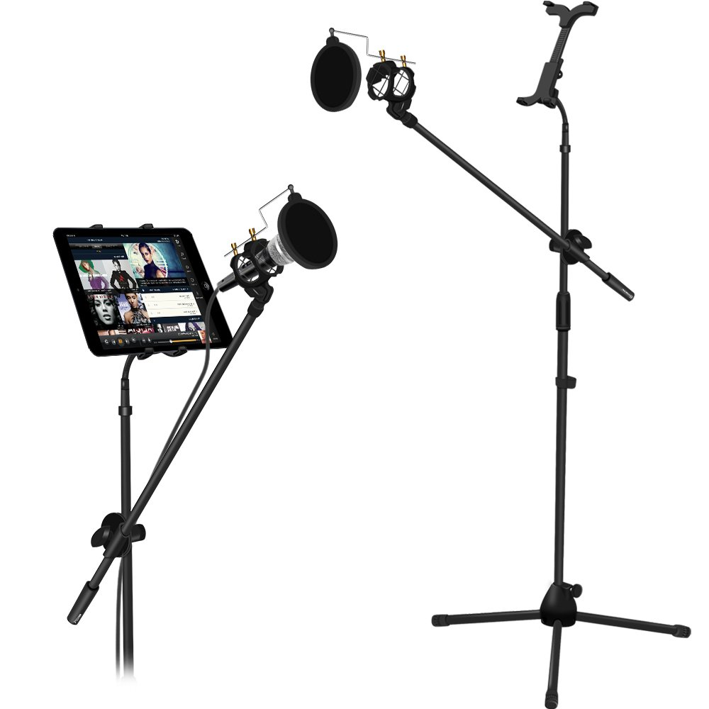 Microphone and Tablet Tripod Boom Stand Kit, Kasonic 2-in-1 Adjustable Telescopic Tablet Holder for Apple iPad Air Mini Samsung Galaxy Note Pro Microsoft Surface Google Nexus