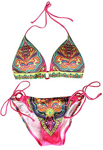 VonFon Flower Printing Push Up Top & Triangle Bottom Women Swimwear Bikini Pink Large