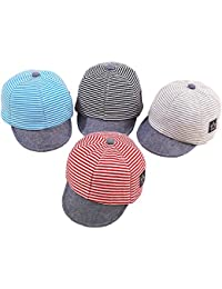 Baby Boy Baseball Cap Striped Sunhat Girl Brim Sun Protection Bow Hat 8110f82096bb