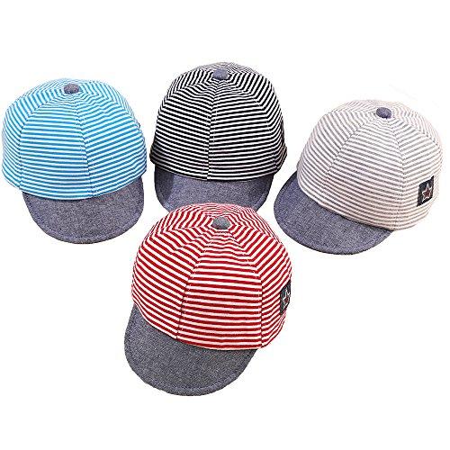 DANMY Baby Boy Girls Baseball Cap Striped Sunhat Infant Rabbit Ears Hat (4pcs)